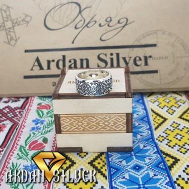 Срібний перстень вишиванка